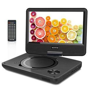 WONNIE 2019 Upgrade 11.5″ Lecteur DVD Portable avec écran Rotatif de 9,5″ à 270°, Inte Carte SD et Prise USB avec Batterie Rechargeable Formats/RMVB/AVI / MP3 / JPEG, Parfait pour Enfants (Noir)