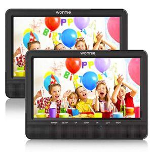 WONNIE Lecteur DVD Portable Voiture 10.1″ Double Affichage 4 Heures Support de Moniteur pour Appui-tête, Support pour USB/SD, AV in/Out, Accompagnement de Voyage en Voiture pour Famille