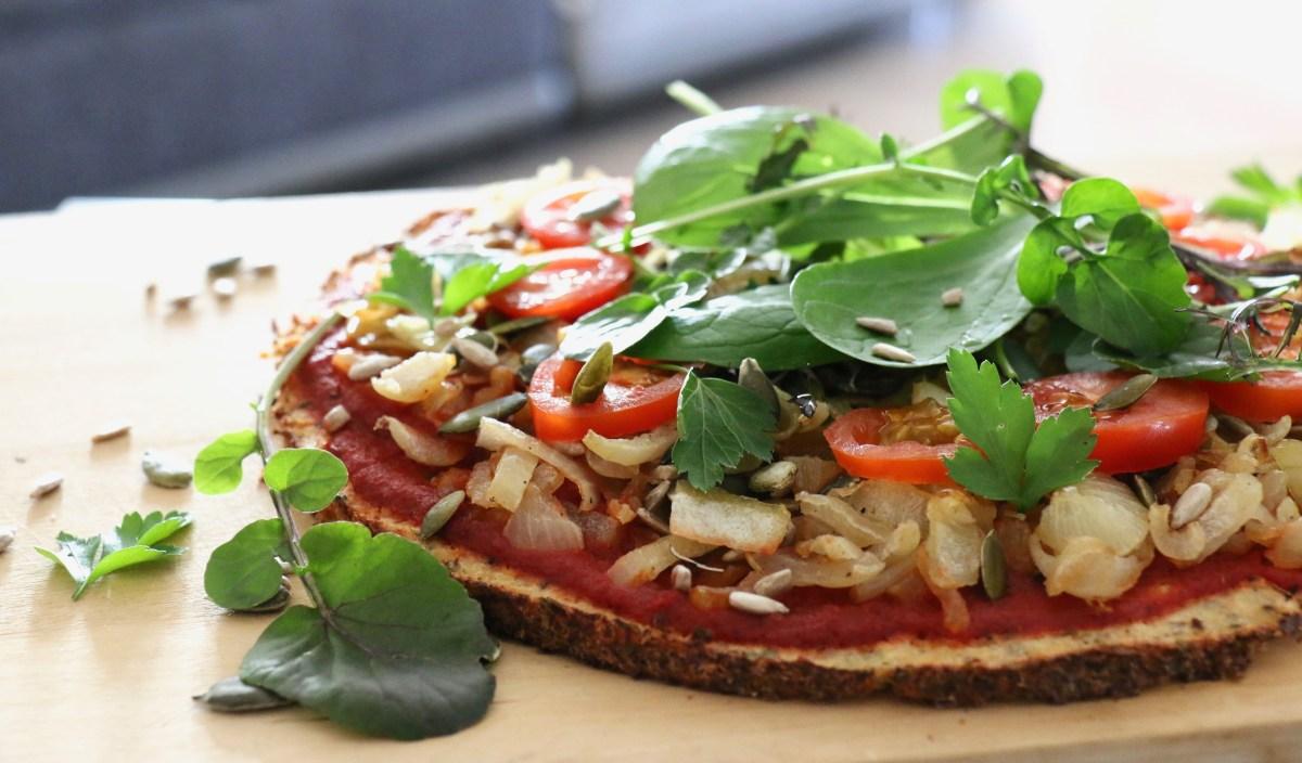 Pizza 100 % légumes (pâte de chou-fleur) sans gluten, IG très bas