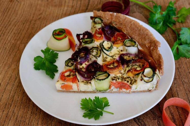 Tarte aux légumes spirales IG bas courgettes carottes