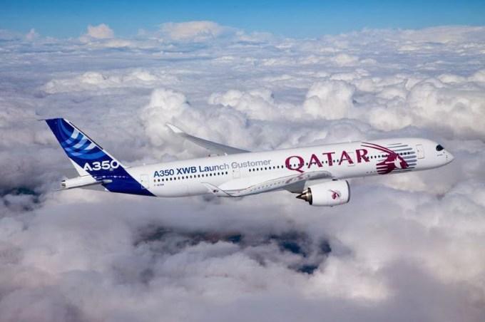 1er vol de L'A350 aux couleurs de Qatar Airways au dessus de Toulouse ©QatarAirways