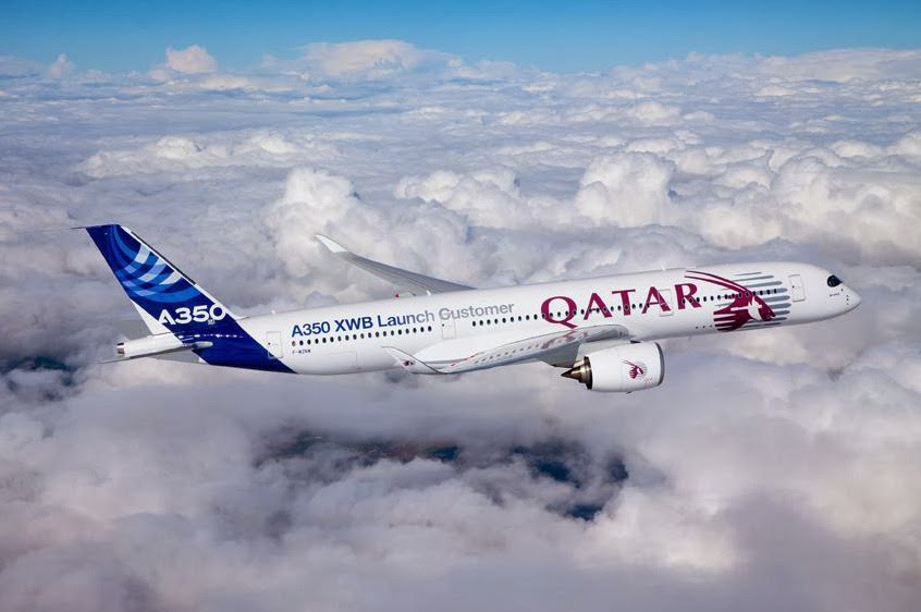 1er vol de L'A350 aux couleurs de Qatar Airways au dessus de Toulouse ©QatarAirways