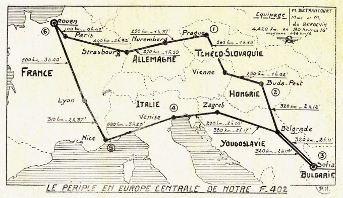Parcours du Farman 402 F-ANFY à travers l'Europe en 1937 ©Alain Bétrancourt