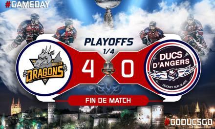 Ligue Magnus (play-offs / Match 1) : Angers prend une claque à Rouen (4-0).