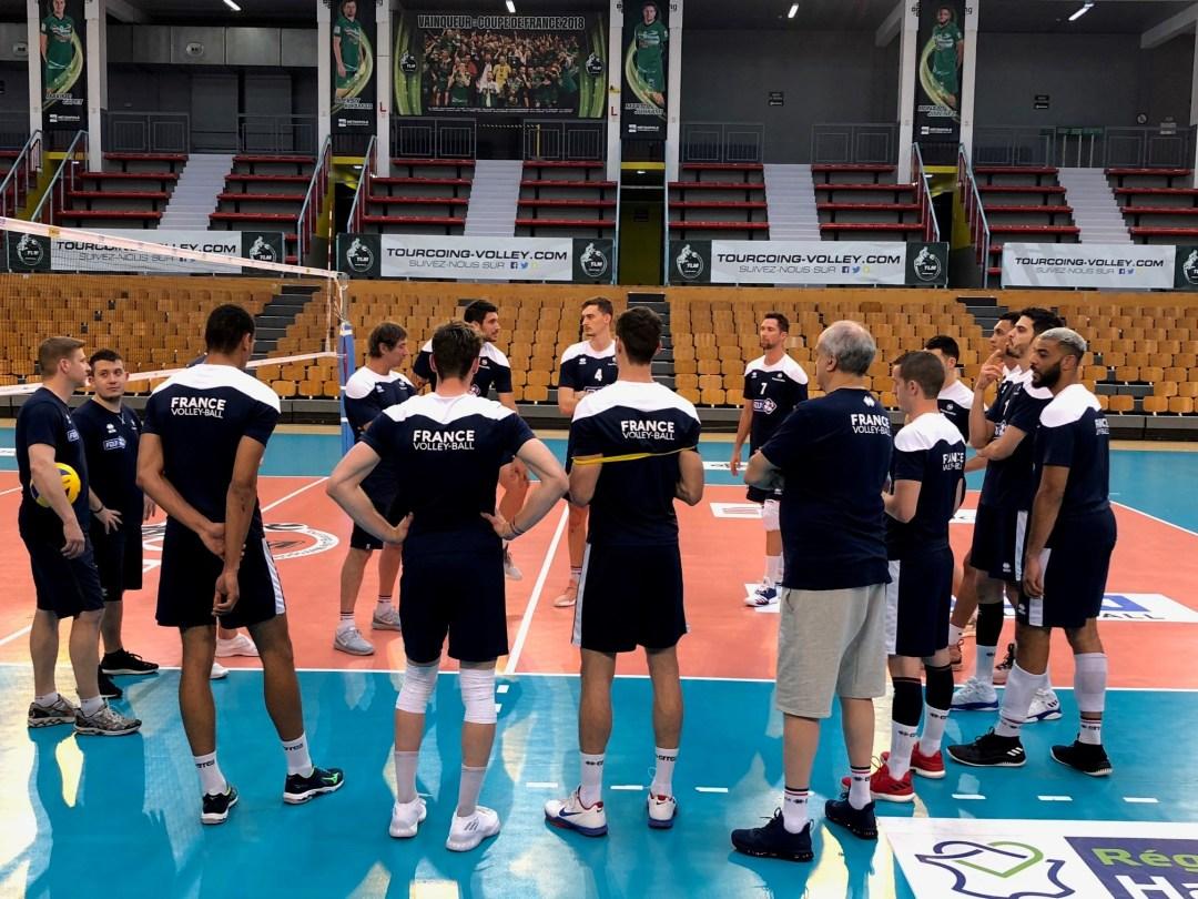 L'équipe de France Volley, lors d'un entraînement (photo : FF Volley).