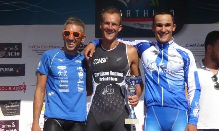 Julien GONNET et Marjorie COLOMBAN s'imposent au Triathlon S de Montreuil-Juigné.
