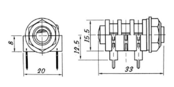 6.35mm Stereo Audio Jack Connector , 2Pin / 4Pin / 6 Pin