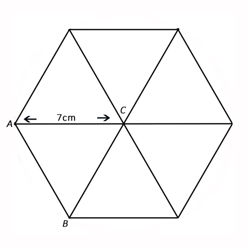 The diagram below shows a hexagon with centre, C, and