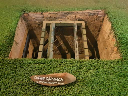 On a day trip from Ho Chi Minh City to the Cu Chi Tunnels you can see some of the booby traps left by the Viet Cong.