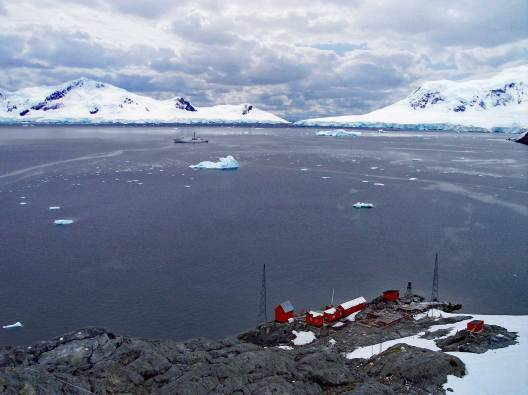 A view overlooking PAradise harbour and Almirante Brown Station in Antarctica