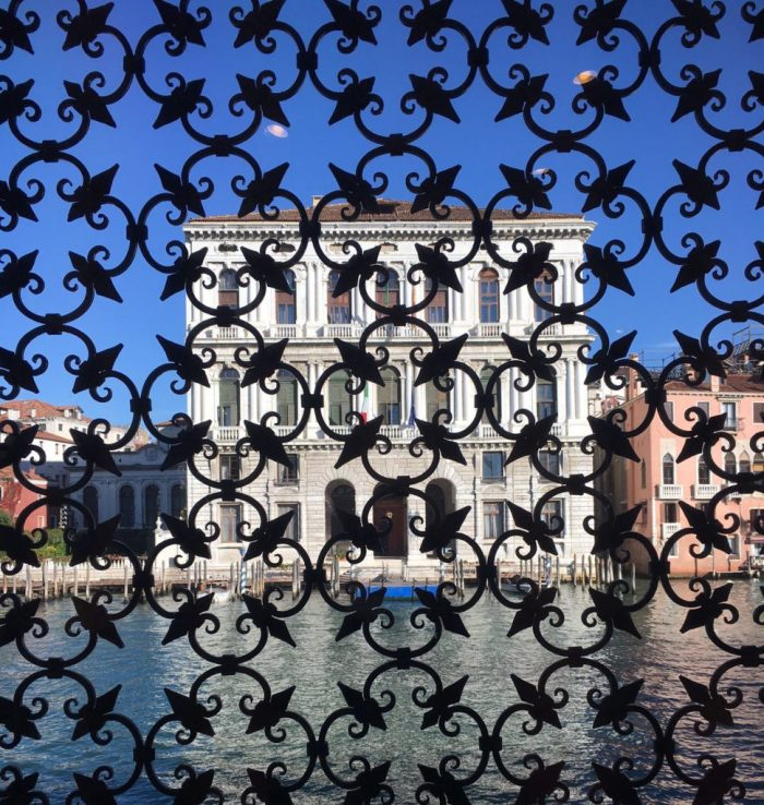 This is the view across the canal from inside the Peggy Guggenheim Collection.