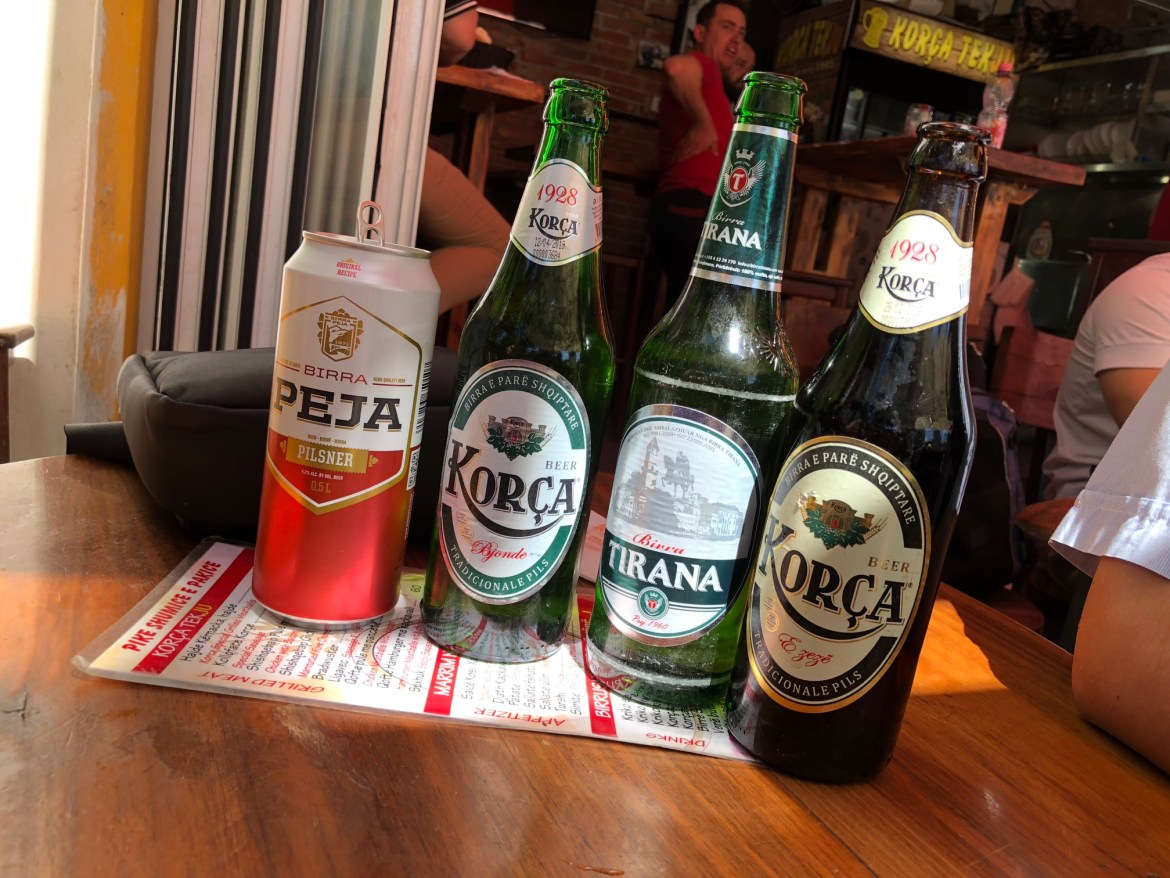 Beer tasting in Tirana. I liked the darker beer on the right.
