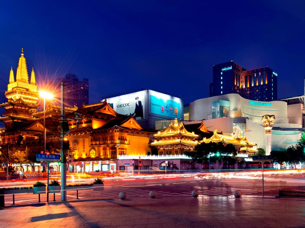View of the Swissotel, one of my top picks for where to stay in Shanghai, over Jing'An Temple.