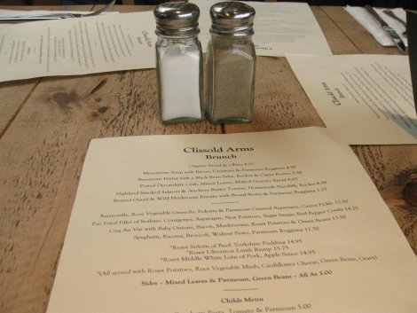 Clissold arms menu