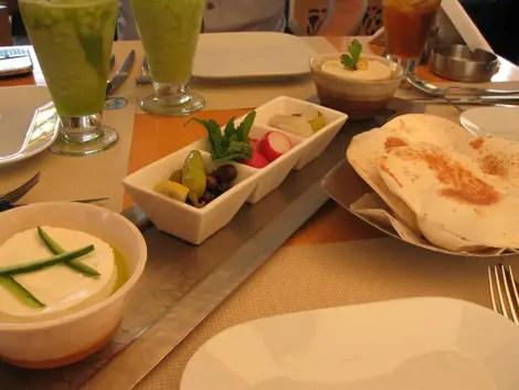 Dubai cafe blanc hummus aubergine