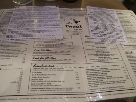 Tweet menu