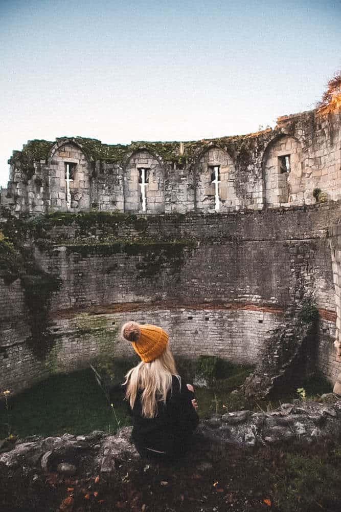 In York, England staring at ancient brick wall