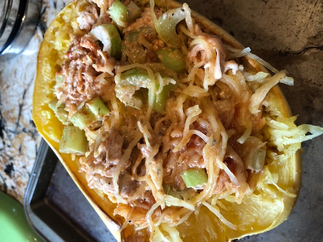 uncooked buffalo chicken spaghetti squash whole 30
