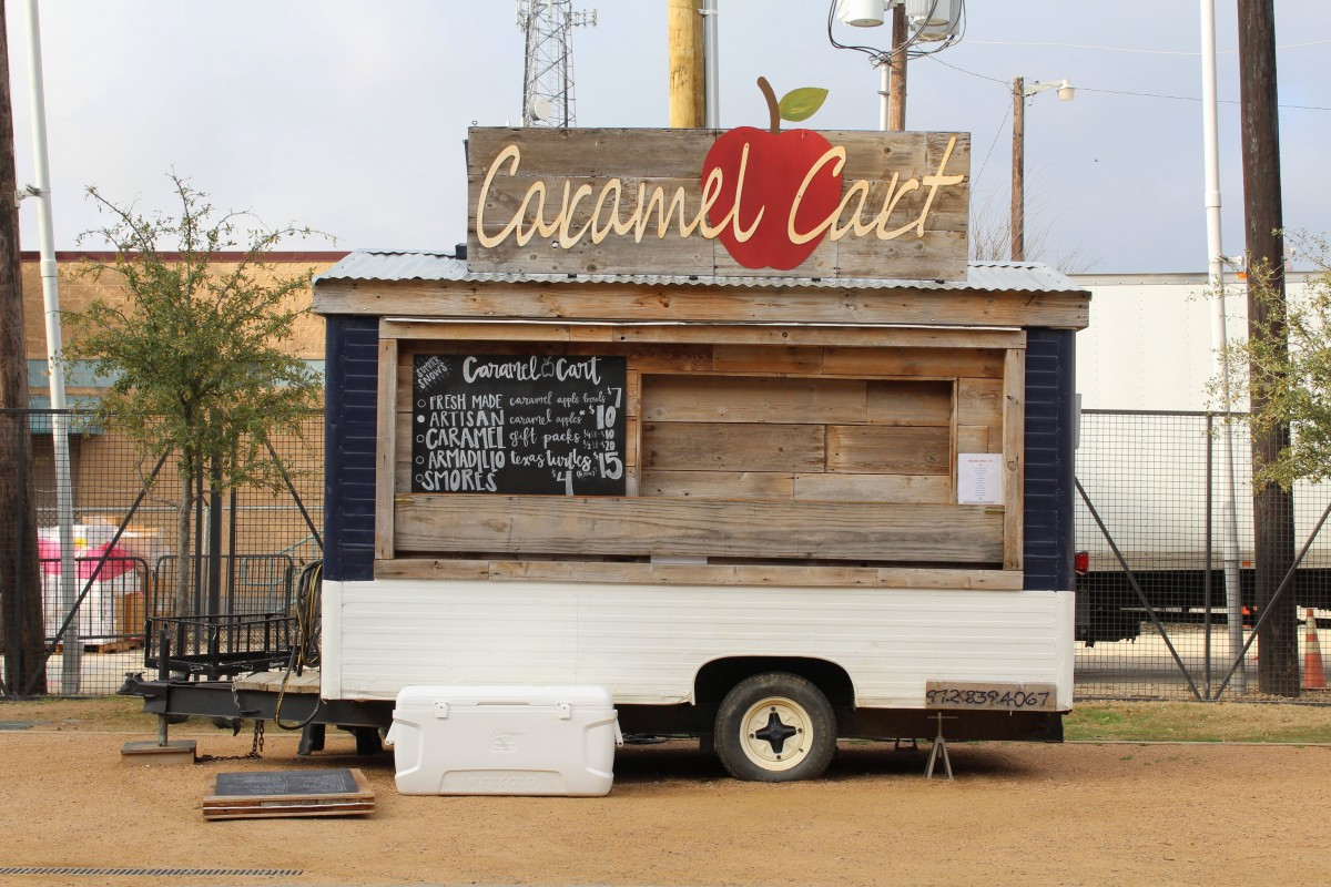 When visiting Magnolia Market , you need to chow down on all the food. Here's a snap of the Caramel Cart, rustic, wooden food truck.