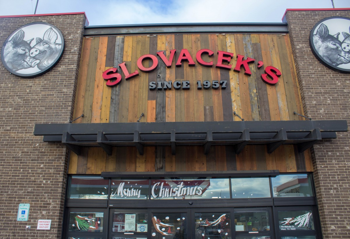 Dallas to San Antonio Road Trips stops: entrance to Slovacek's in West, Texas
