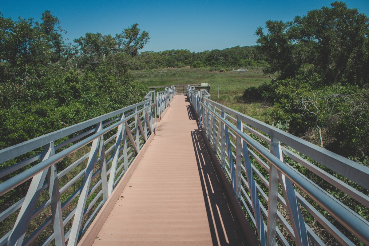 Day hike packing list : walking on a boardwalk in a hike
