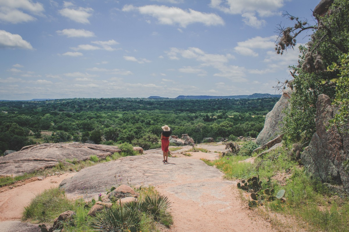 Sweeping green view from Enchanted Rock State Park