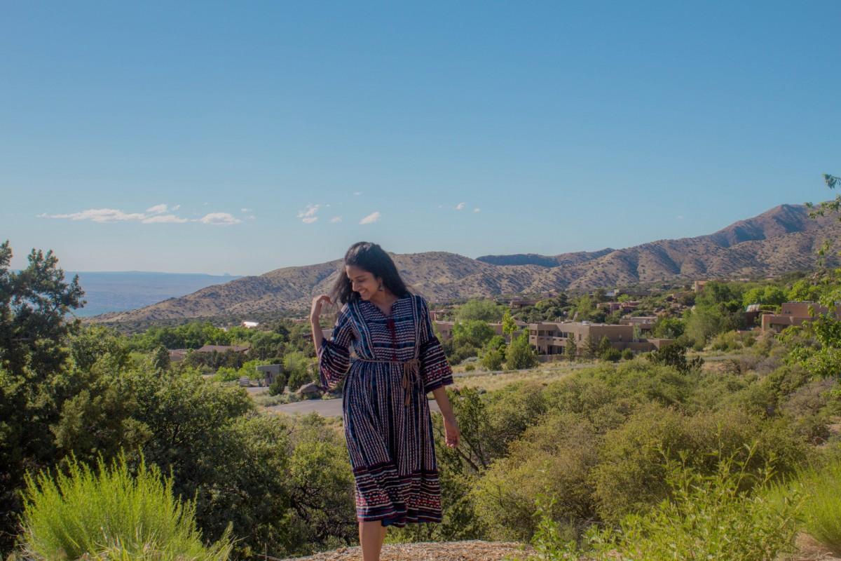 Girl standing right outside of Sandia Peak Tramway