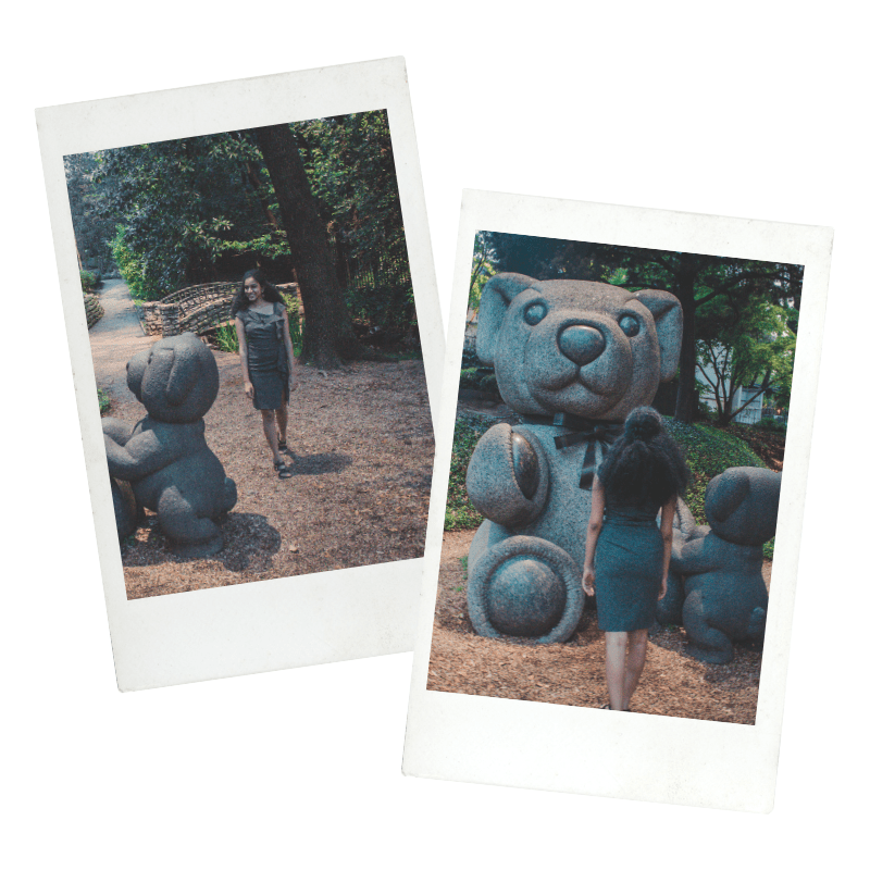 Teddy Bear Park Dallas Polaroid snapshots. Pictures of a curly haired girl exploring Teddy Bear Park.