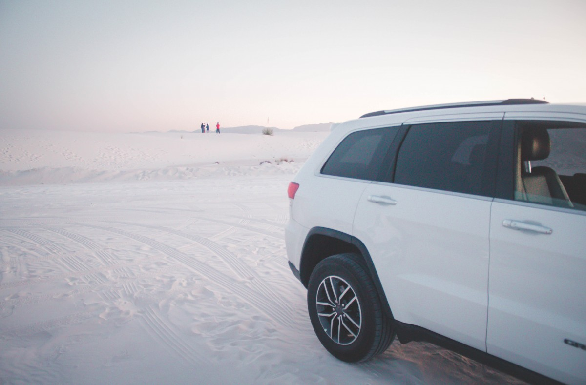 White Car by White Sands