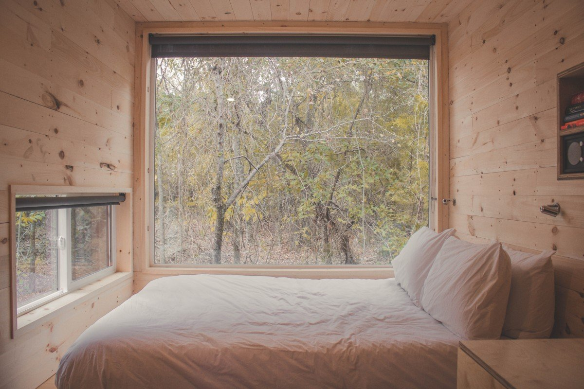 Getaway House Review: bedroom with big windows