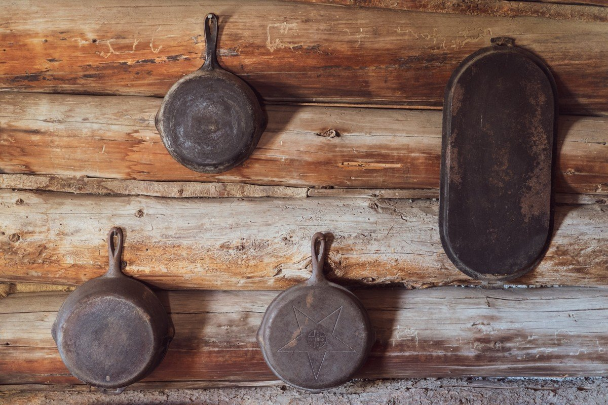 pots and pans in a cabin