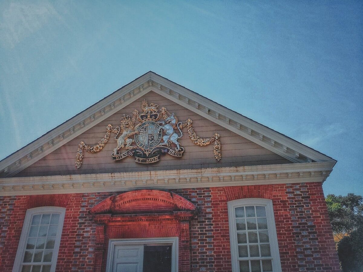 Governor's Palace crest in Colonial Williamsburg.