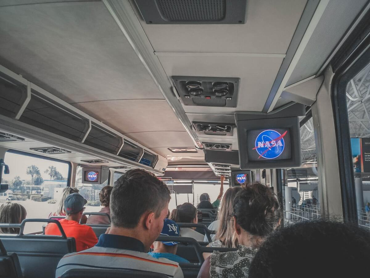 Inside Kennedy Space Center bus tour from 2012. These are the old screens with the NASA logo.
