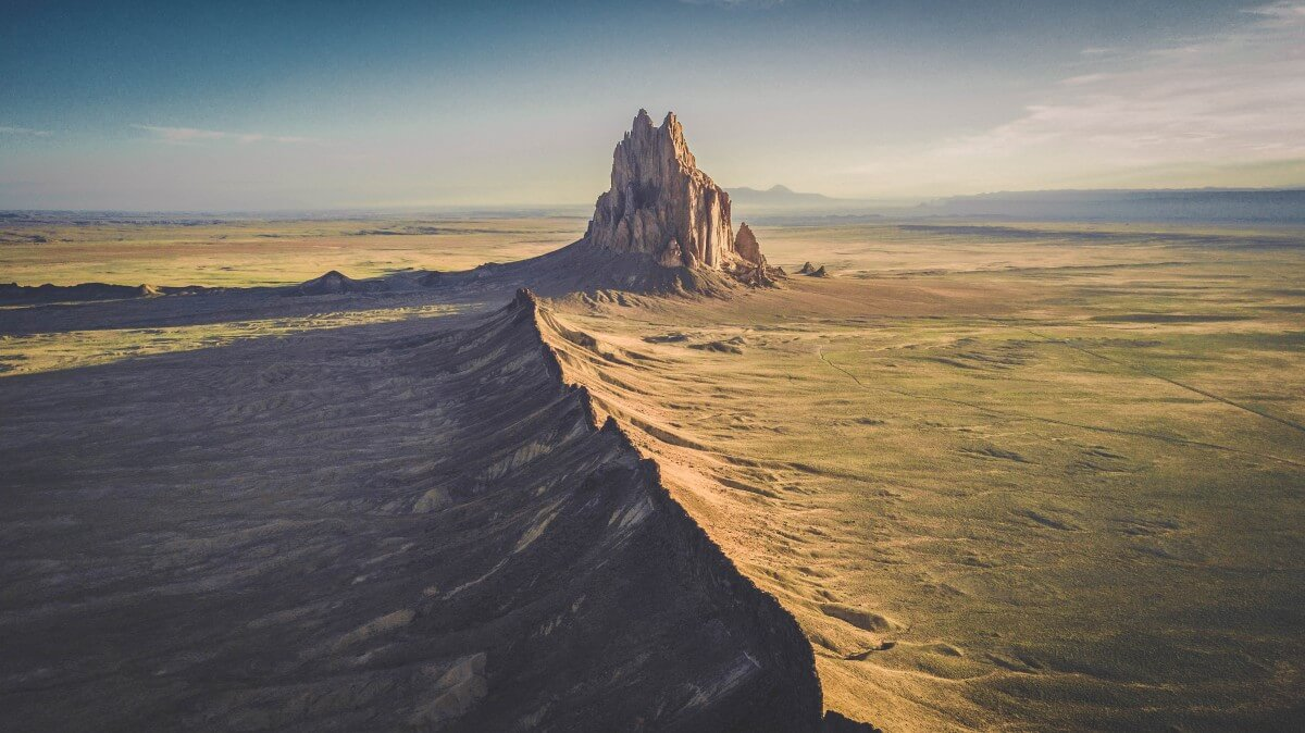 Drone shot of Shiprock, one of the top things to do in Farmington