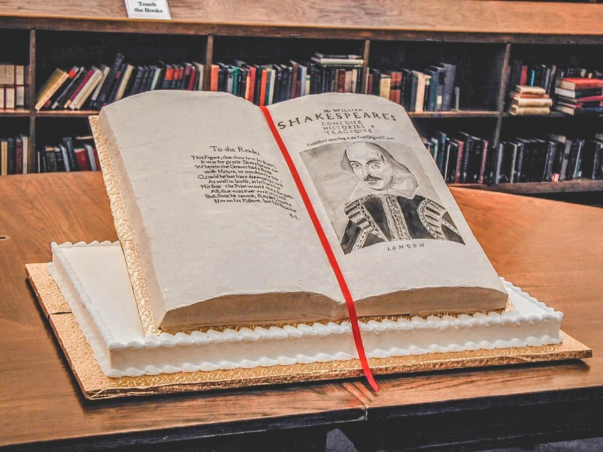 Vanilla Shakespeare Birthday Cake (shaped like a a book) to celebrate the Shakespeare festival.