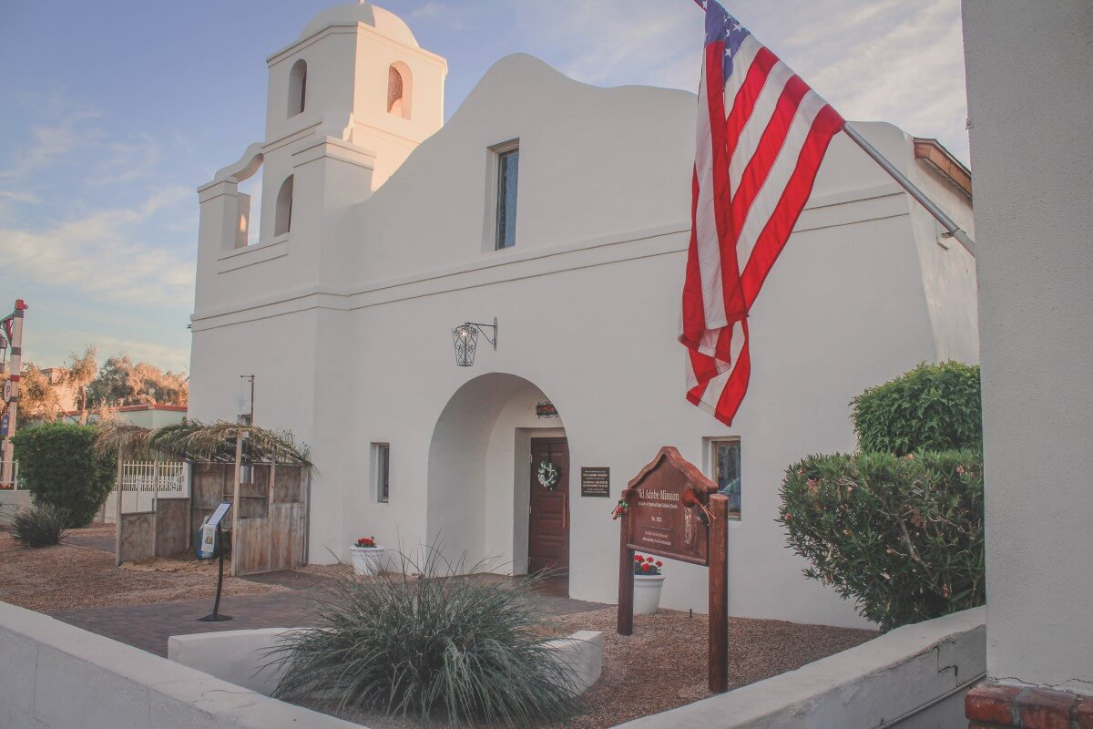 An old white adobe mission next to the Mission Restaurant in Scottsdale
