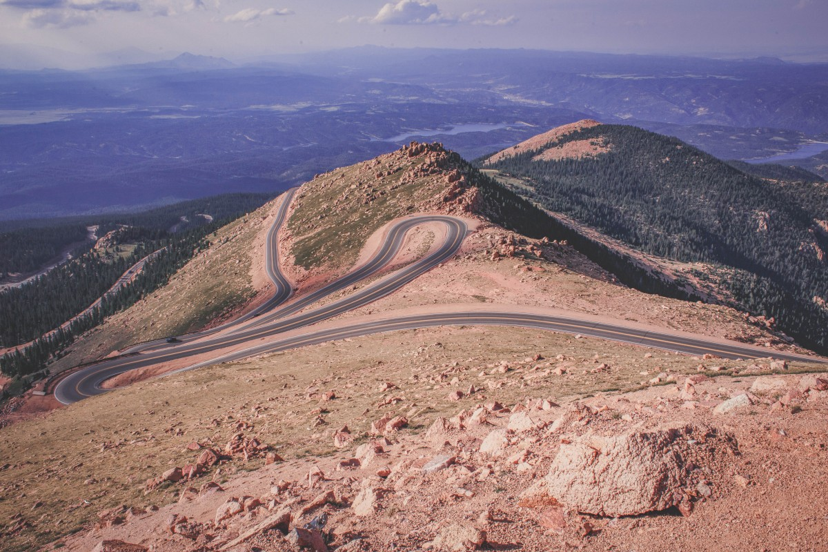The winding road that is Pikes Peak Highway (you can see the city in the background)