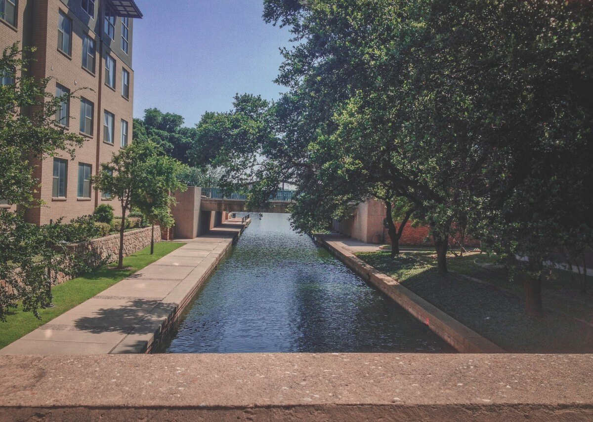 View from above Las Colinas canal bridge