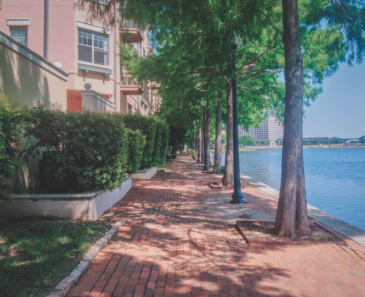 pink apartments by Lake Carolyn