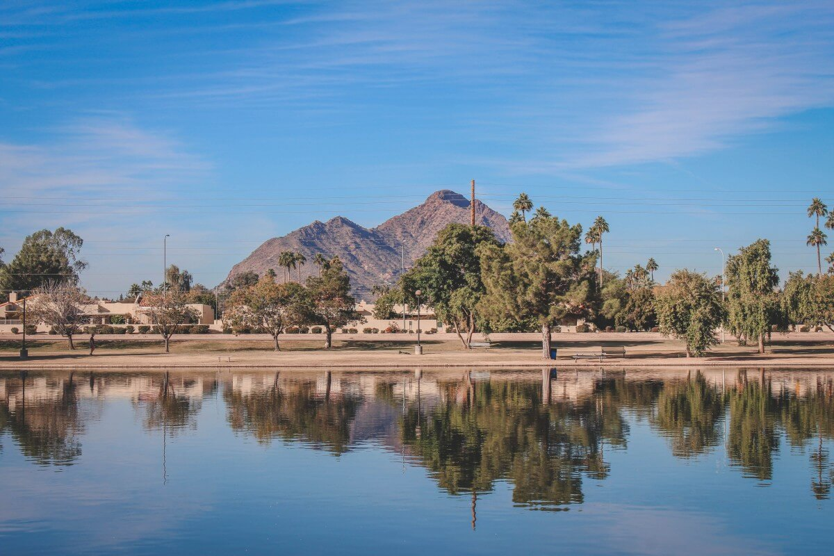 A mirror lake of Camelback Mountain, one of the best sights I saw during my weekend in Scottsdale.