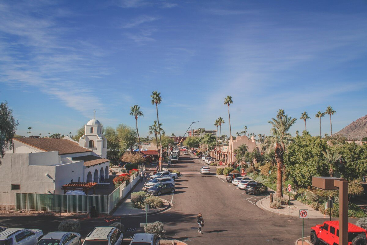 A high-above view of Old Town Scottsdale (taking from the very top of a parking garage)