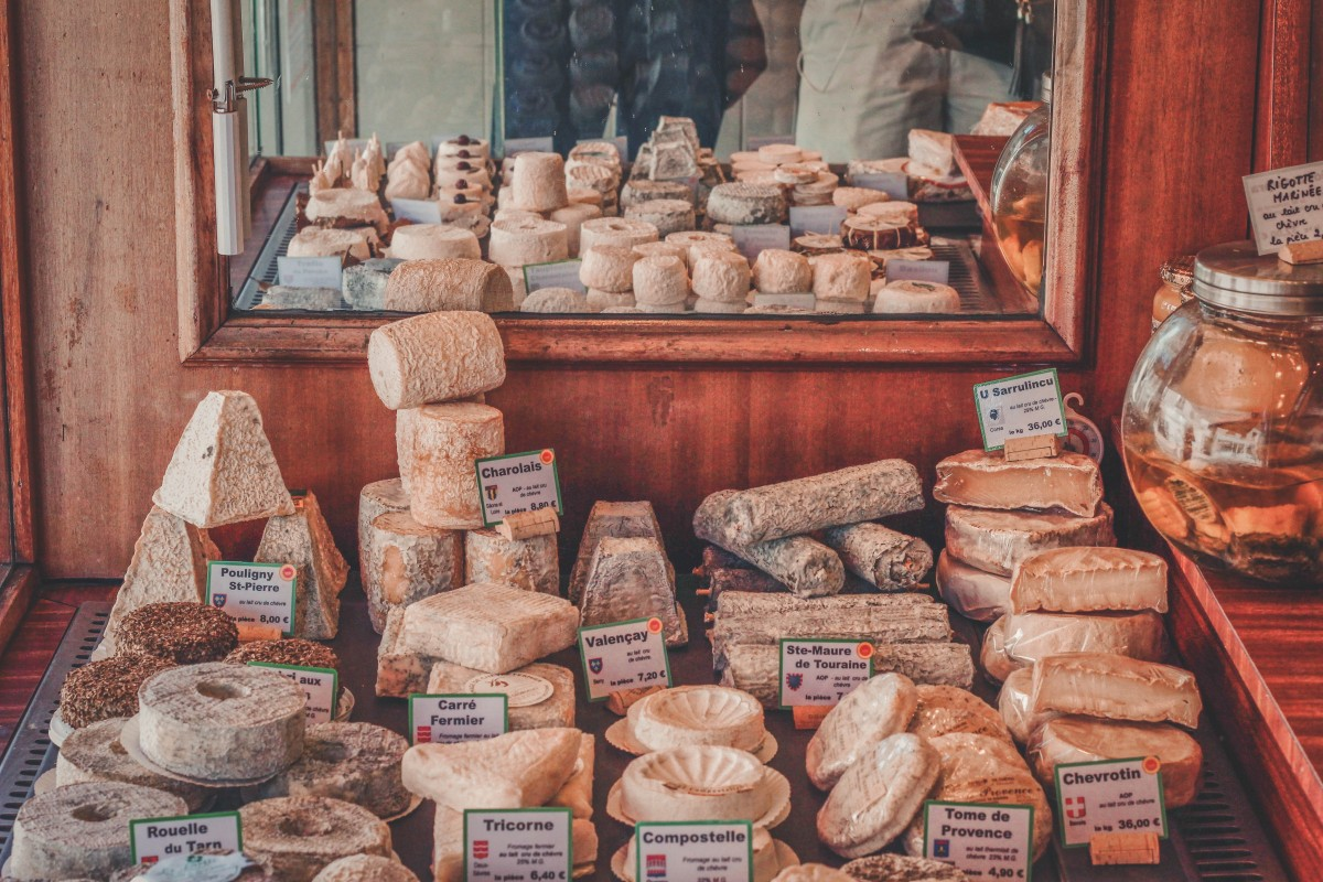 cheese at a market to choose from