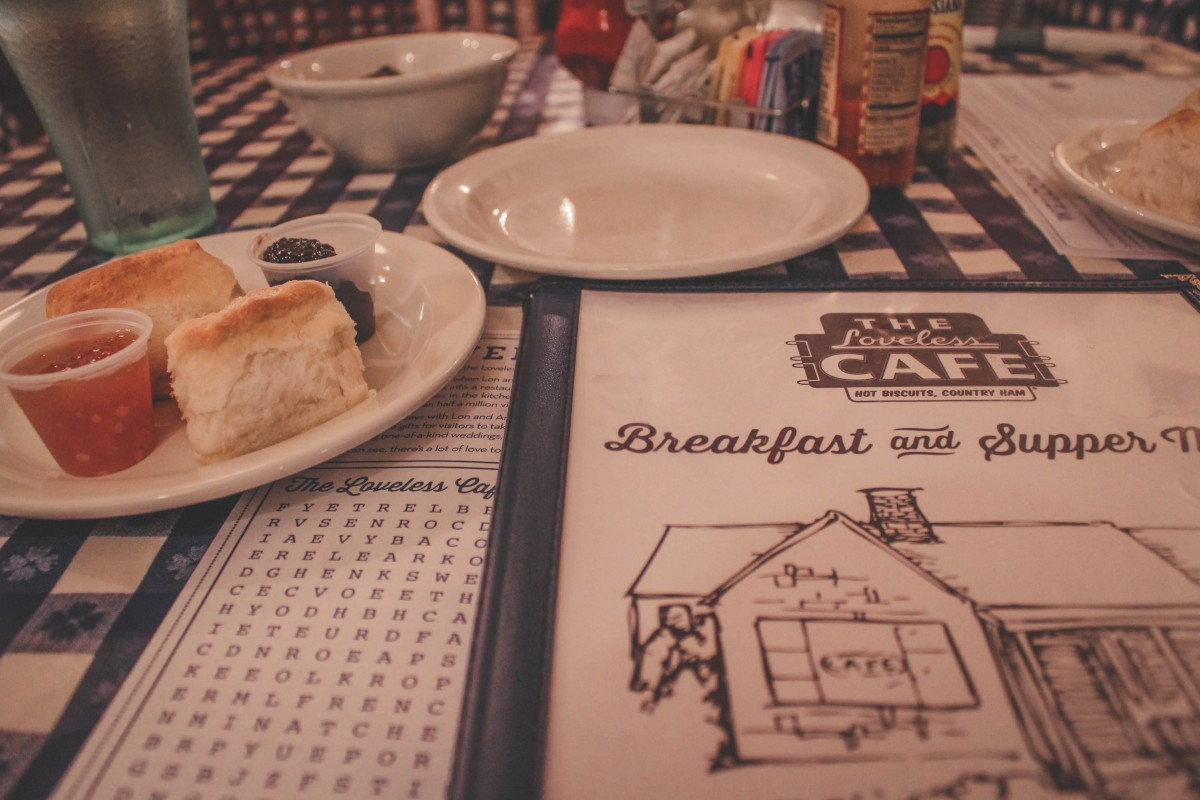 Menu and kids wordsearch at Loveless Cafe plus biscuits and jam