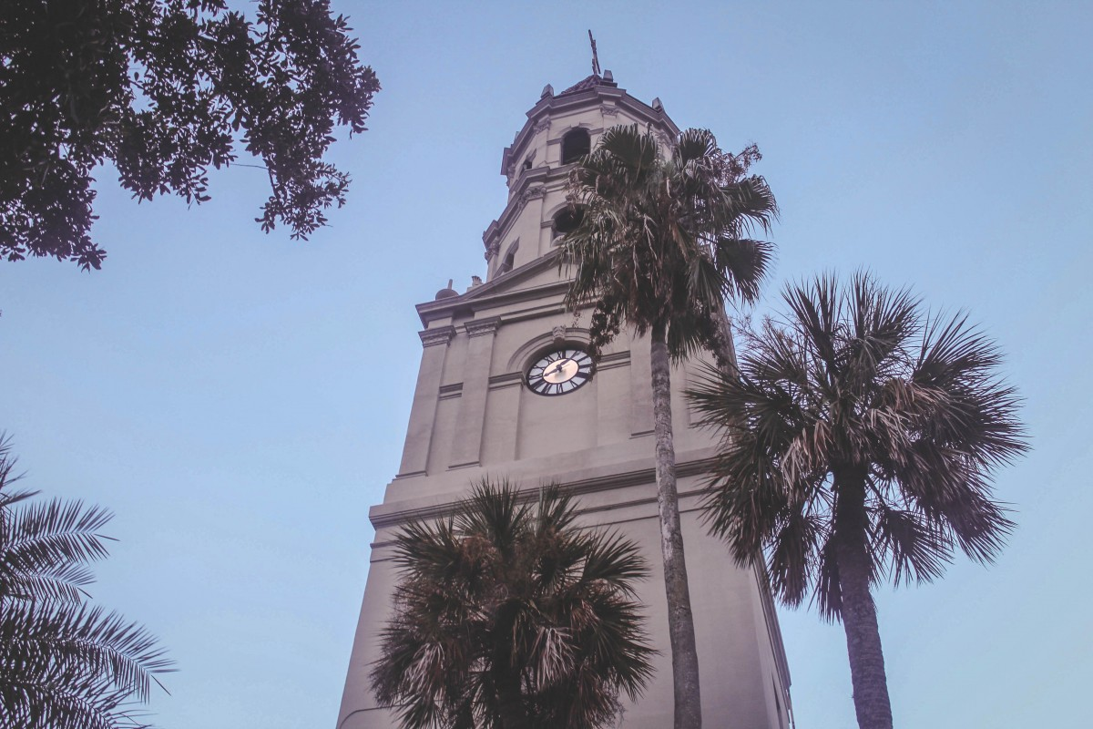 Cathedral clock in St. Augustine