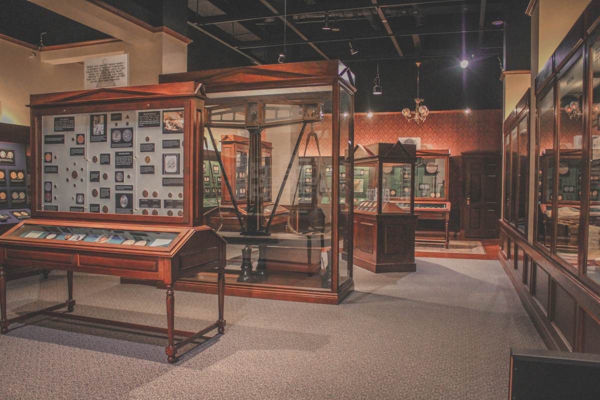 collection of rare books and coins at the Durham Museum