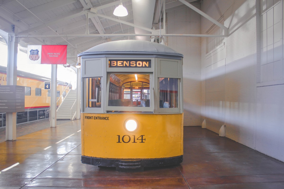 yellow train car in the Durham Museum