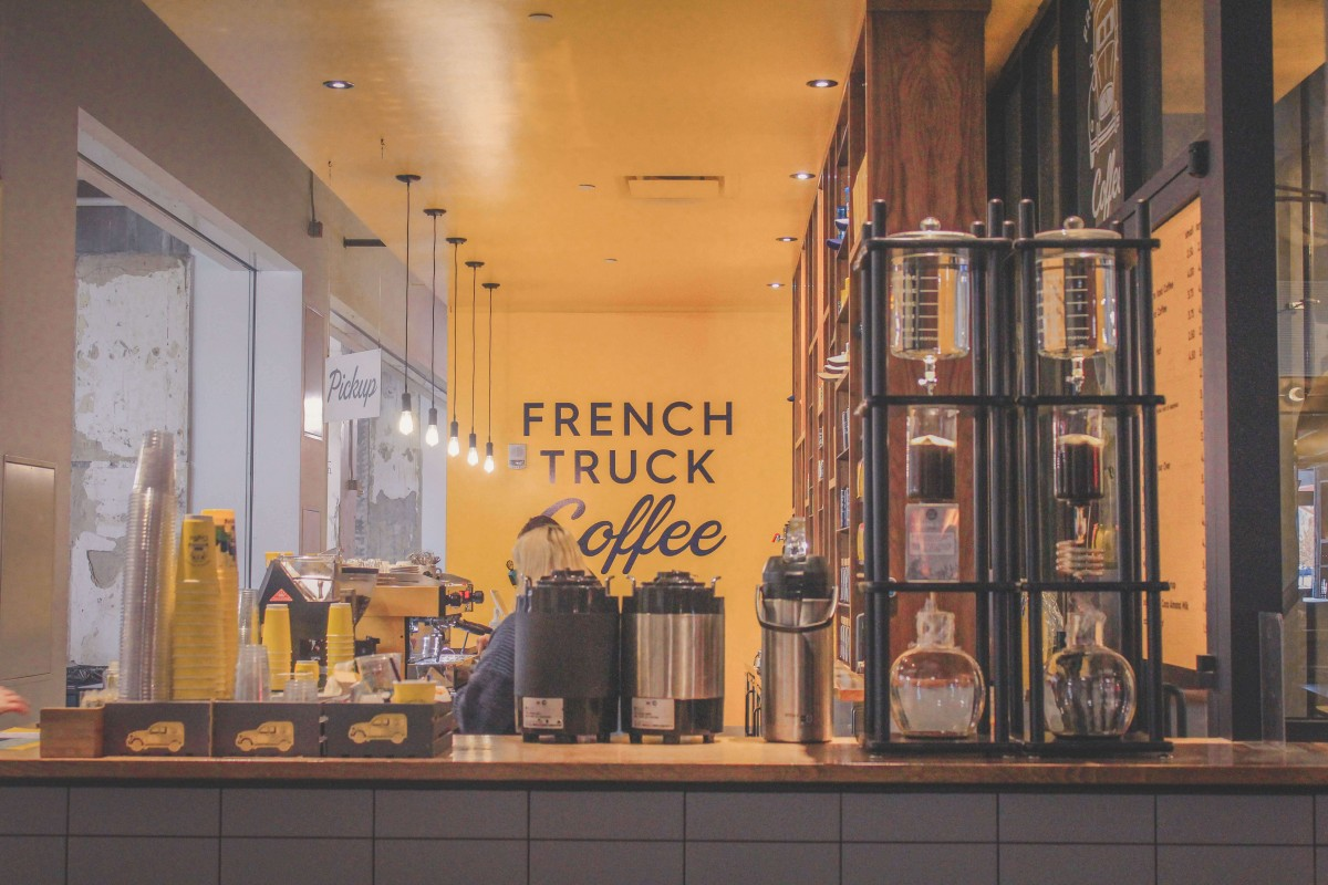 French Truck Coffee yellow interior in Memphis Crosstown Concourse