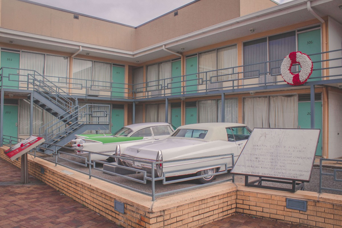 Iconic blue doors of the Lorraine Motel where MLK was assassinated