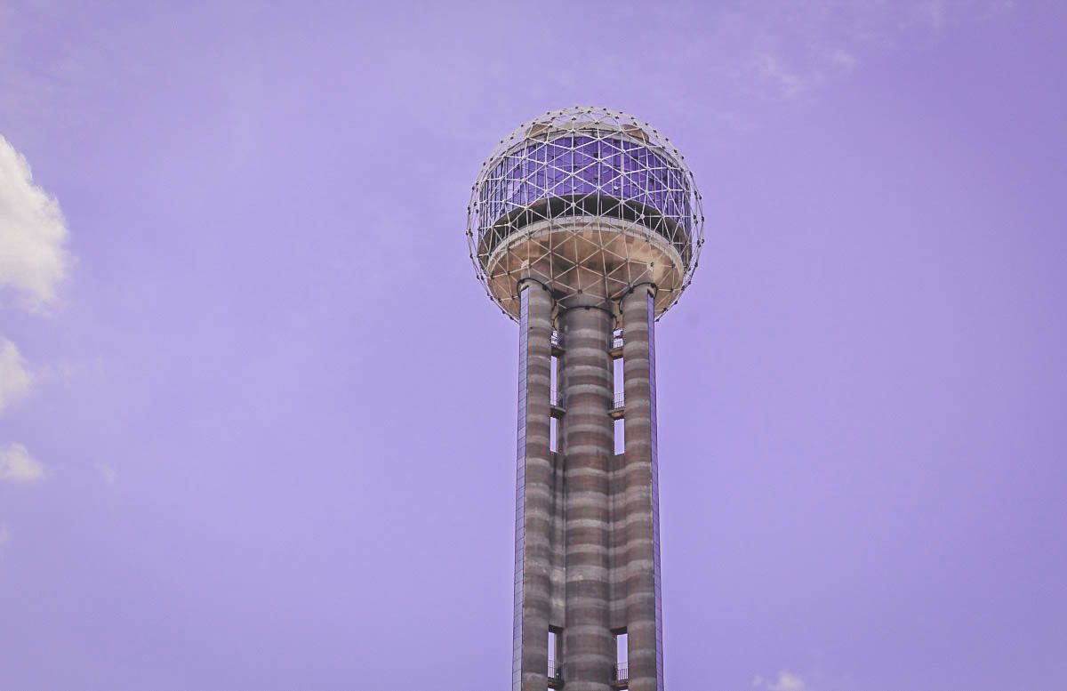 reunion tower at sunset