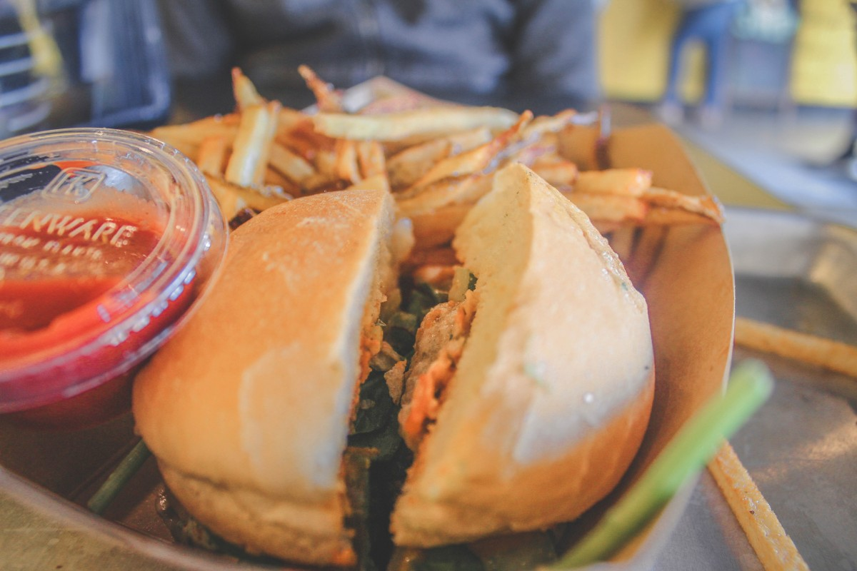 Bombay burger split open at Dirt Burger